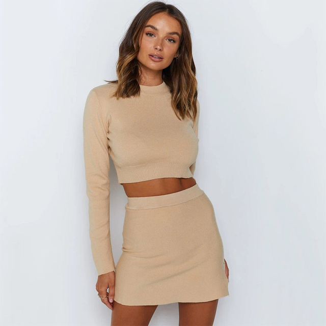 Spring Autumn Fashion Women's Knitting Skirt Suit Women's Costume Sweater Suit + Slim Skirt Two-Piece Tracksuit 2021 1