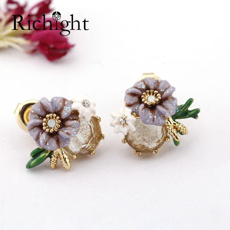 Mignon émail peint à la main bijoux violet blanc petite fleur boucles d'oreilles Dainty or gemme pierre boucle d'oreille S925 argent Post boucles d'oreilles