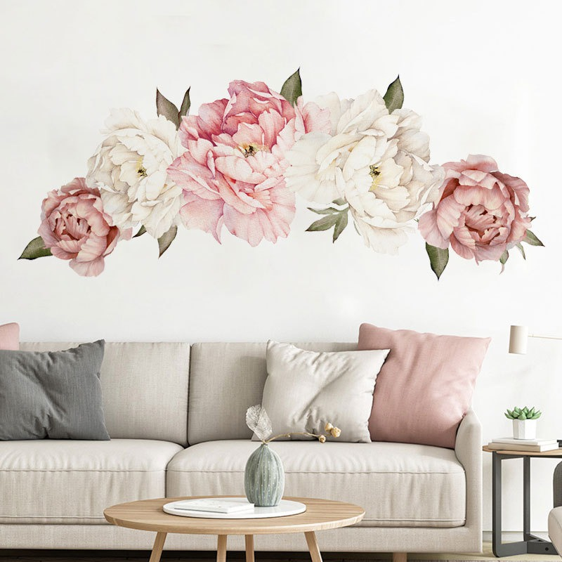 NewPeony Wall Decal Floral Decals Watercolor Peony Large Self Adhesive Wallpaper Mural Peel and Stick