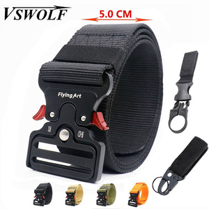 Men's Tactical Nylon Belt Army Military Belt Trousers Metal Buckle Canvas Waistband Male Police Outdoor Training Waist Belt Wide