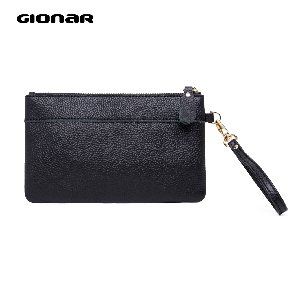 GIONAR Cowhide Top Layer Genuine Leather Wristlet Womens Portable Phone Wallets And Purses 2019 High Quality Designer Clutch