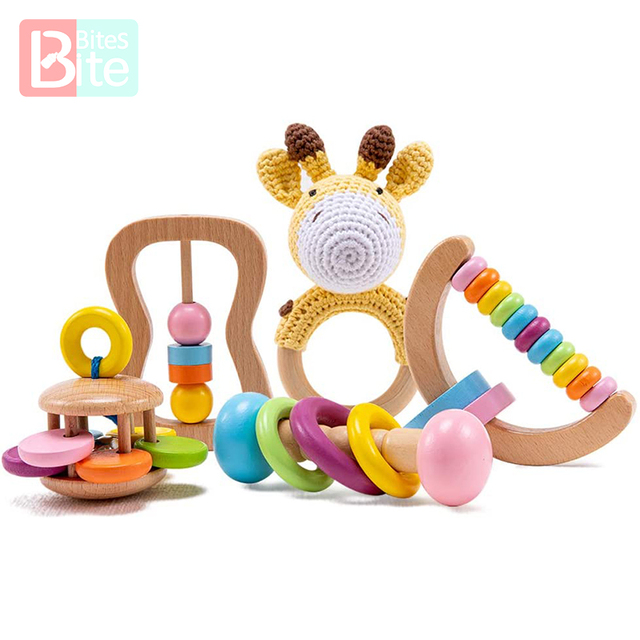 5PCS Organic Safe Wooden Toys Baby Montessori Toddler Toy Grip DIY Crochet Rattle Soother Bracelet Teether Toy Set Baby Product