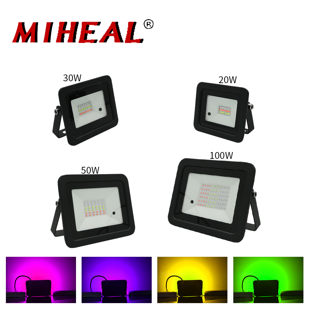 2020 Latest LED RGB Flood Light 20W 30W 50W 100W Outdoor RGB Floodlight Spotlight IP68 LED Wall Washer Light With Remote Control