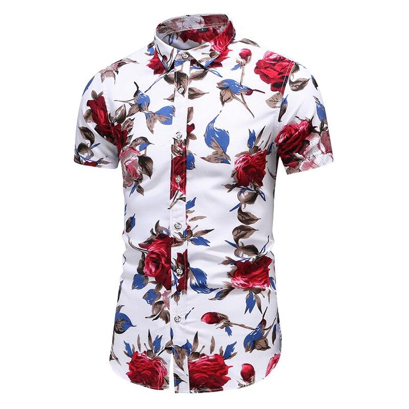 2020 Summer Short Sleeve shirt Mens Casual Flower Beach Hawaiian Shirts slim fit Floral Shirts Men Plus Size 5XL 6XL 7XL(China)