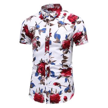 2020 letnia koszulka z krótkim rękawkiem mężczyzna dorywczo kwiat plaża hawajskie koszule slim fit kwieciste koszule męskie Plus rozmiar 5XL 6XL 7XL tanie i dobre opinie LEGIBLE COTTON Poliester Skręcić w dół kołnierz Pojedyncze piersi REGULAR Suknem Na co dzień Floral