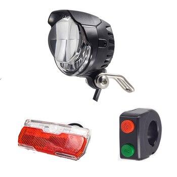 Electric Bike Light Set Headlight with Horn Including Ebike Tail Light Both 12V 24V 36V 48V LED Control by Switch E Bike Light ebike light electric bicycle light with headlight and rear light set input 24v 36v 48v 64v led lamp e bike fornt and tail light