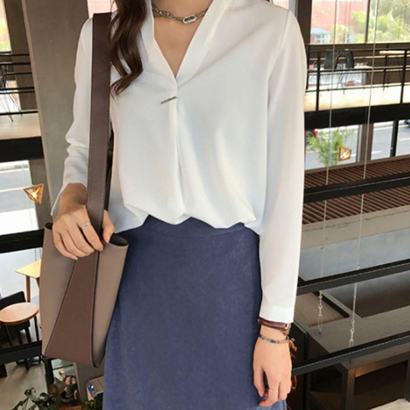 Fashion Women Chiffon Blouse Shirt Summer Tops Long Sleeve White Blue