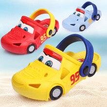 Новинка года, туфли с дырками для детей от 2 до 7 лет, с машинками, для малышей, для детей, для девочек и мальчиков, пляжные тапочки противоскользящие летние с принтом животных