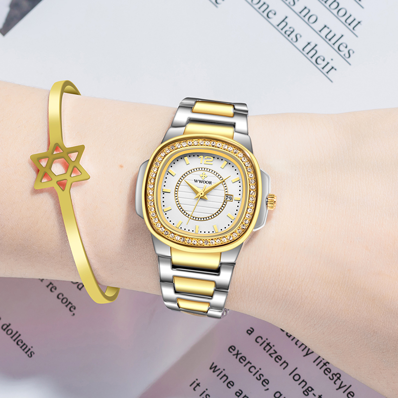 WWOOR Women Watches 2020 Fashion Diamond Bracelet Watch Luxury Brand Gold Ladies Quartz Wrist Watch Gifts For Women Montre Femme