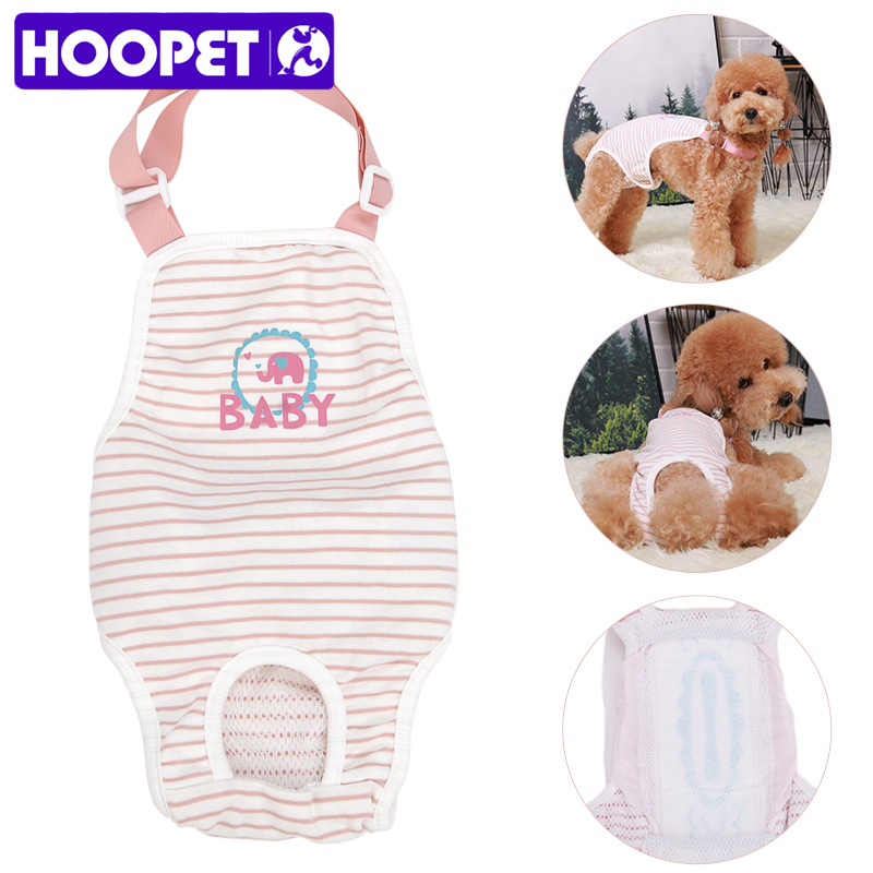 HOOPET Pet Dog Physiological Sanitary Pants With Striped Diaper Washable Female Dog Panties Siamese Clothes Pets Hygiene Product