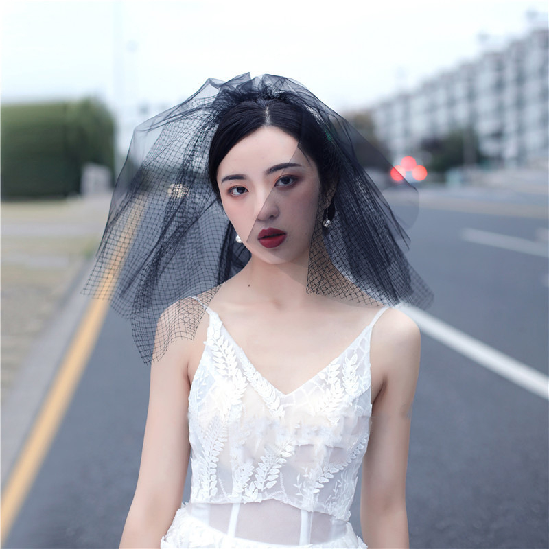 White Black Bridal Veil With Comb Veil Multi-Layer Velos De Noiva Wedding Accessories Short Veil Black For Party Halloween