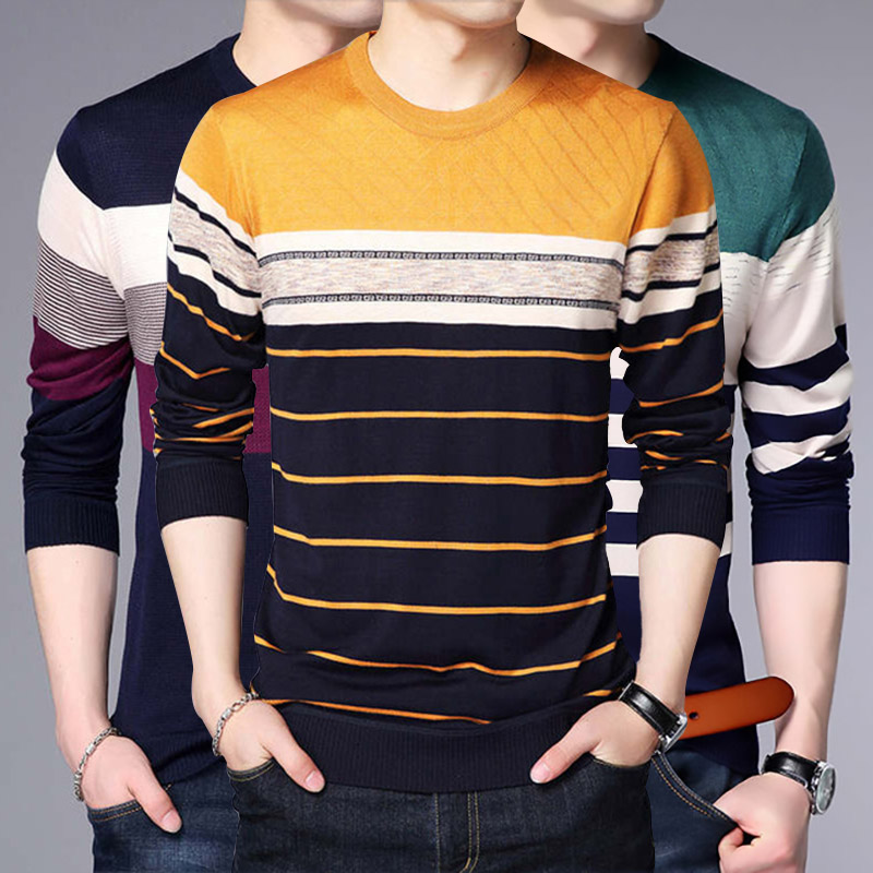 Sweater Men 2020 Autumn New Pullover Mens Sweater Casual O-Neck Slim Fit Long Sleeve Shirt Mans Knitted Pull Sweaters Clothing
