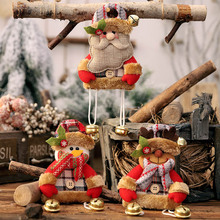 2019 Christmas Tree Hanging Ornaments new year Santa Claus Snowman Reindeer Pendant with Bell for Home Xmas Deoration Baubles