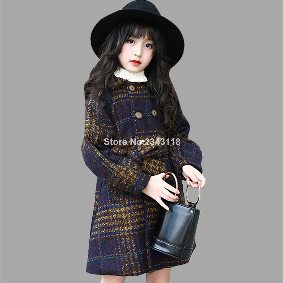 Winter Jackets For Girls Plaid Thick Woolen Coats For Girls Autumn Child Girls Jacket Teenage Girls Clothing For 6 8 12 Years