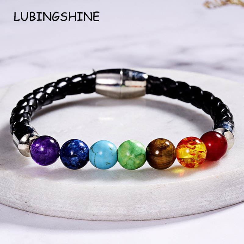 12pcs/lot 7 Chakra Bead leather Bracelet Men Women Healing Balance Reiki Buddha Prayer Natural Stone Bracelets Couples Jewelry