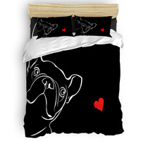 French Bulldog Love Black And White Bow Duvet Cover Set 2/3/4pcs Bedding Set Bed Sheet Pillowcases Cover Set