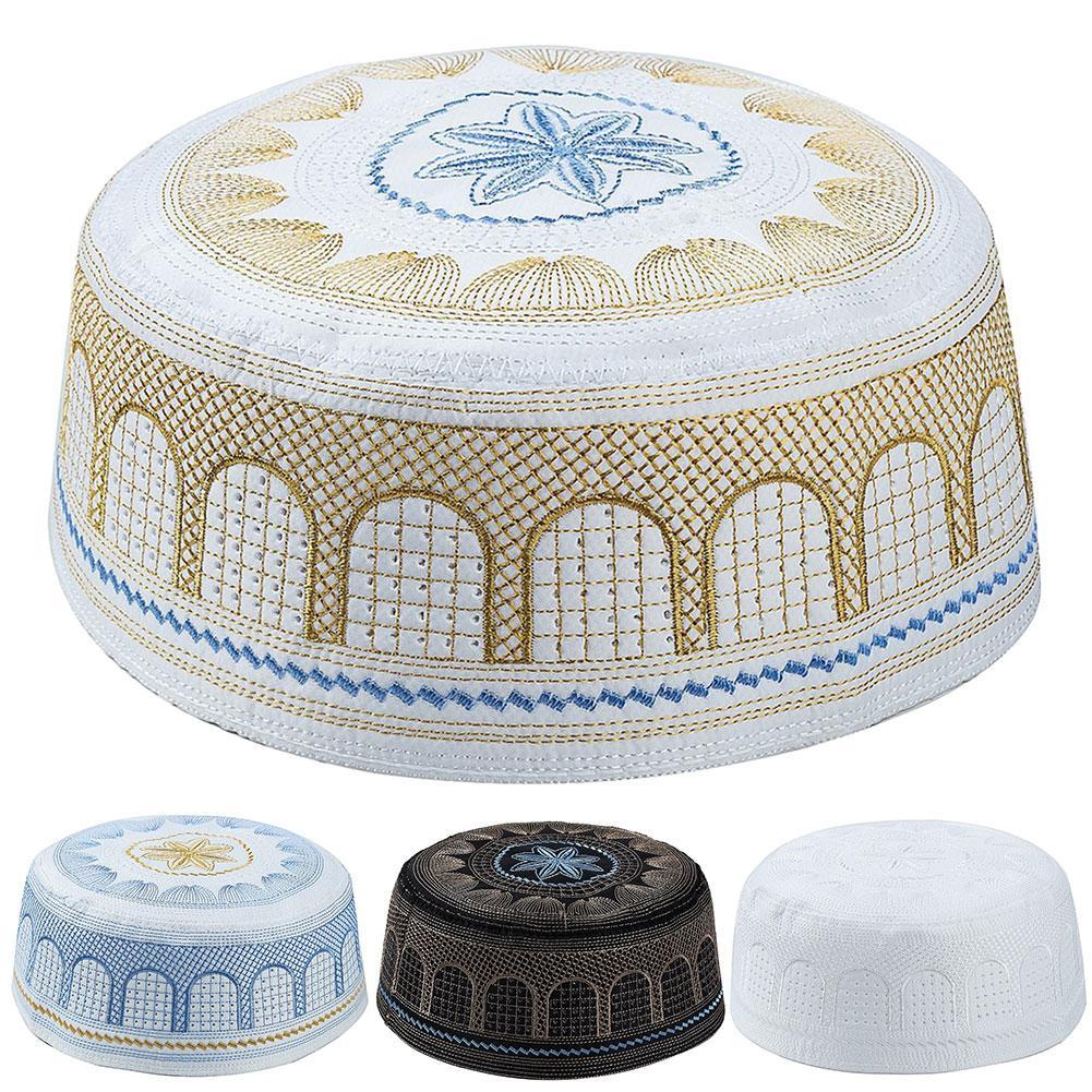 Arab Muslim Prayer Hats For Men Embroidery Prayer Hat Muslim Islamic Pray Skull Cap Arabic Turkish Beanie Hat Hijab Cap For Man