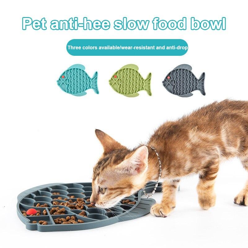 1PC tapis de léchage pour animaux de compagnie Silicone poisson en forme de chien chat lent bol traiter coussinet de confort chiot anxiété soulagement mangeoire fournitures pour animaux de compagnie durables