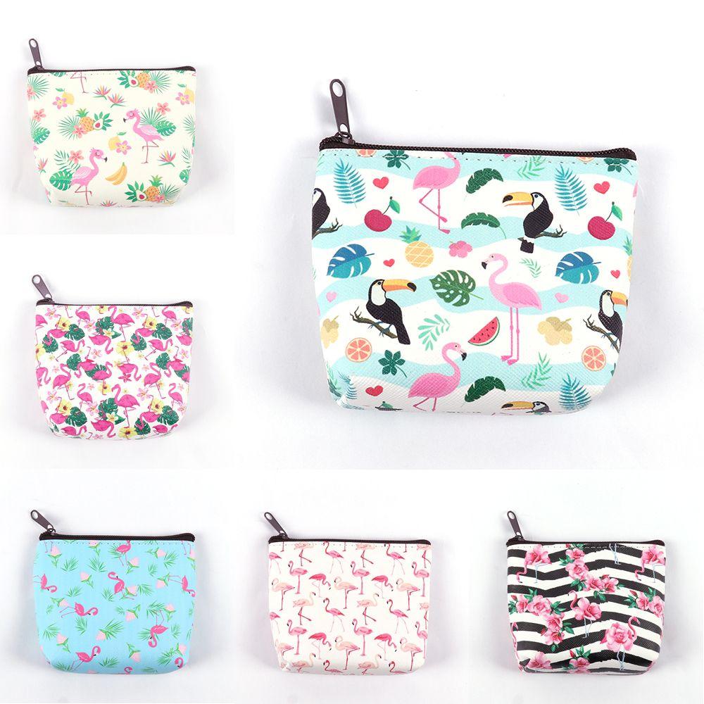 Wallet Purse Key-Pouch Cartoon-Bag Make-Up Mini Owl/flamingo-Printing Women Bags Card-Holder