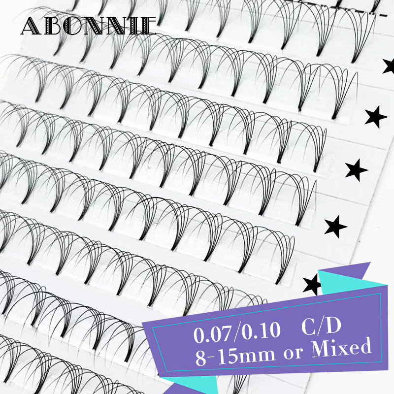 Abonnie Short Roots Makeup 12 Lines 3d/4d/5d/6d Pre Made Fans Volume Fans 0.07/0.10 Eyelash Extension Black Faux Mink