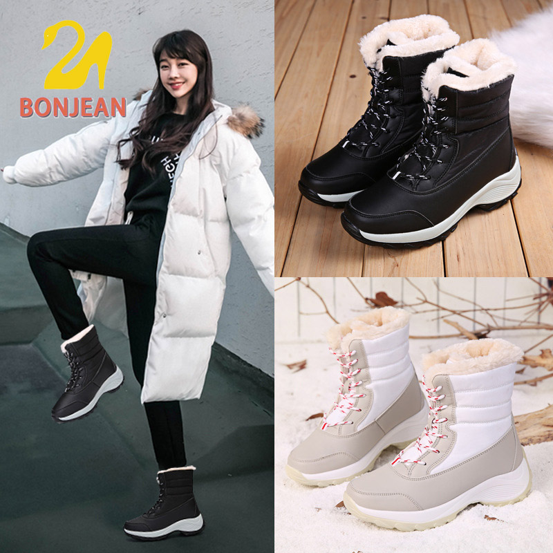 Bonjean Red Boots Women Winter Warm Fur Plush Ankle Boots Shoes Waterproof Platform Thick Sole Motorcycle Boots For Ladies image