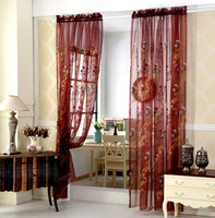 High grade Screens Sheer Pastoral Flower Embroidery Romantic Tulle Curtains Custom for Cafe Living Room