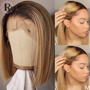 RULINDA Ombre Color 13*6 Lace Front Human Hair Wigs Highlight Short Bob Brazilian Non-Remy Hair Lace Wigs 150% Density(China)