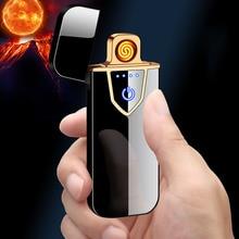 Encendedor de carga USB sensor táctil a prueba de viento electrónico ultrafino Cable de calefacción eléctrico encendedor de cigarrillos protección ambiental