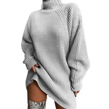 Womens Autumn Winter Long Sleeve Sweater Turtleneck Ribbed Knitted Solid Color Midi Dress Casual Loose Pullover Streetwear S-XL elegant turtleneck long sleeve bodycon knitted midi dress autumn winter new solid casual high stretchy office lady dress vestido