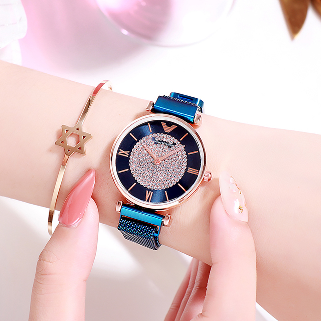 Women Watches 2019 Luxury Diamond Rose Gold Ladies Wrist Watches Magnetic Women Bracelet Watch For Female Clock Relogio Feminino 3