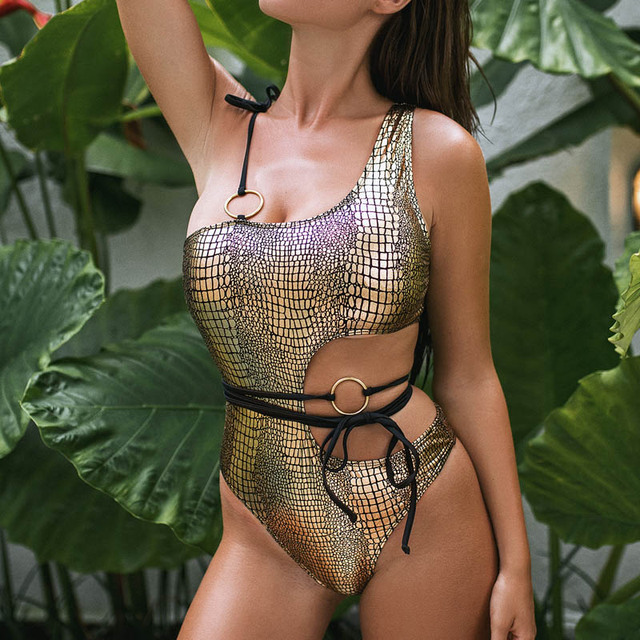 Model One Shoulder Snakeskin Beachwear 2