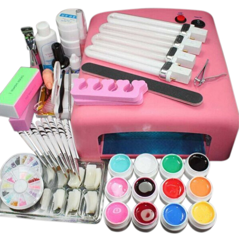 36W Lamp Dryer For Nail 12 UV Gel Polish Nail Kit False Tip Manicure Nail Extension Nail Tools Kit UV Gel Vanishes Kit With 4 Tu