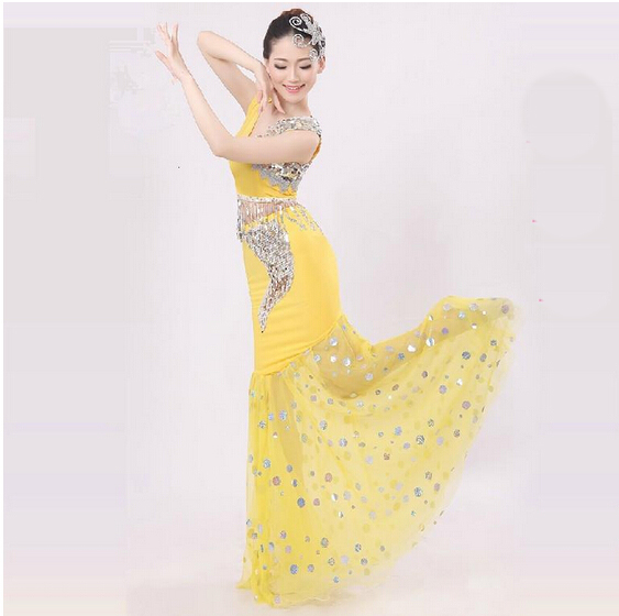 New Dai Peacock Dance Costumes Dance Costumes Female Fishtail Skirt Package Hip Long Section Of National Costumes 003