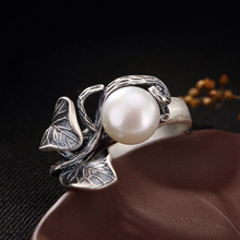 טבעות פרל טבעי מים מתוקים פרל 925 כסף סטרלינג טבעת עלים נשים רטרו טבעת המפלגה תכשיטים
