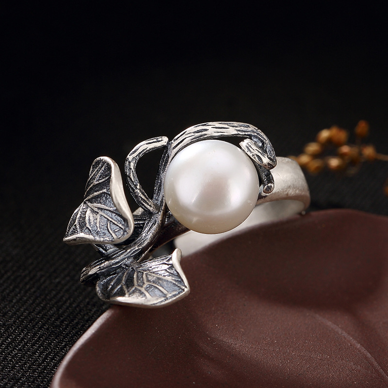 Pearl Rings Natural Freshwater Pearl 925 Sterling Silver Ring Leaves Women Retro Ring Party JewelryRings