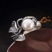 Perle anneaux perle deau douce naturelle 925 bague en argent Sterling feuilles femmes rétro bague bijoux de fête