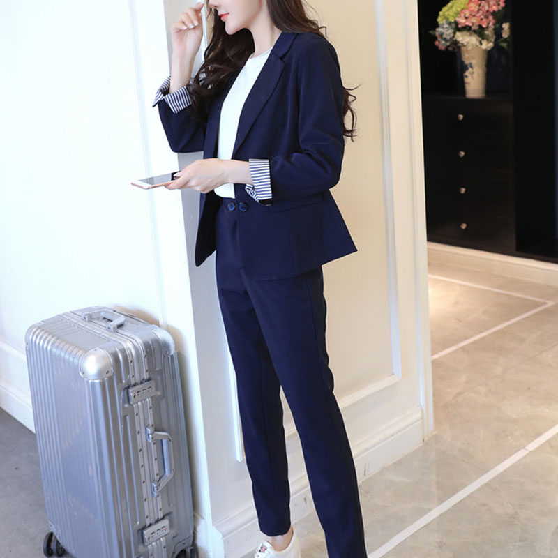 Jacket For Women Spring Summer Casual Suit Two Piece Solid Color One Buckle Long Slim fit Women Suit Temperament Blazer Feminino