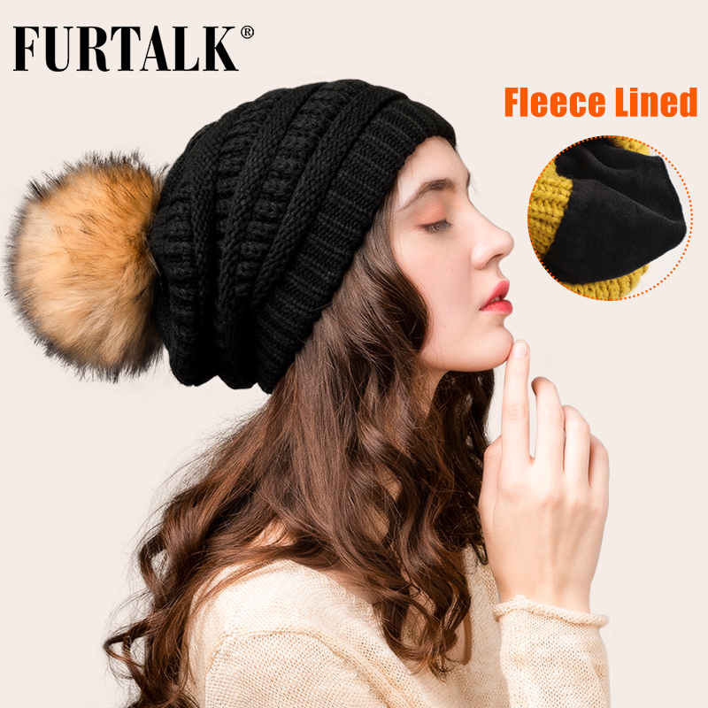 FURTALK Winter Beanie Hat For Women Knitted Pompom Hat Velvet Lining Slouchy Beanie Skullies Bonnet Cap Female Korean Red Cap