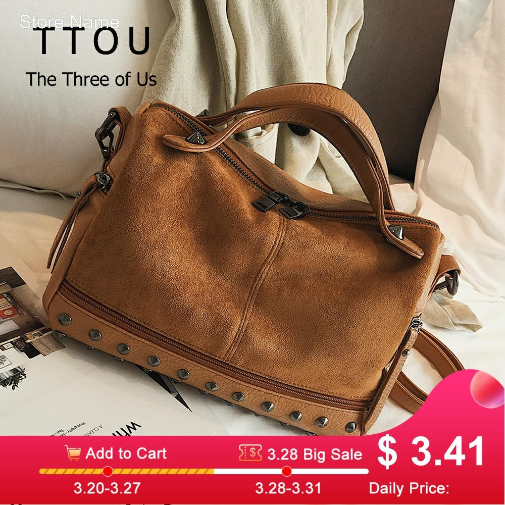 TTOU Fashion Women Top-handle Shoulder Bags With Rivets High Quality Leather Female Large Capacity Tote Bags Dropshipping New