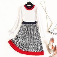 Autumn 2019 new European and American women's wear Long sleeved round collar Joining together The letter printing Knitted dress