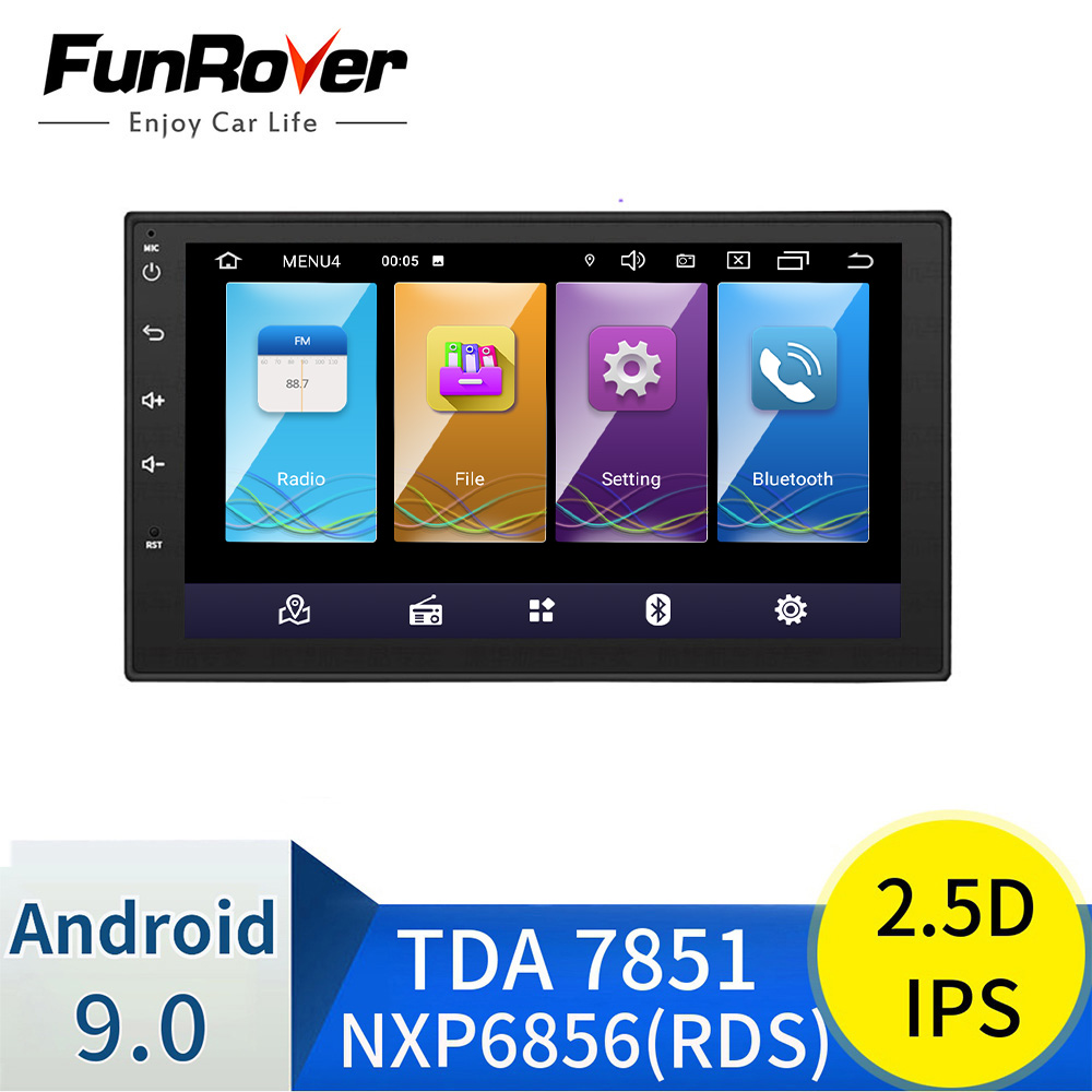 FUNROVER Car Multimedia player android 9.0 2 Din Car DVD Radio for Universal for Nissan peugeot toyota doble din Autoradio rds image