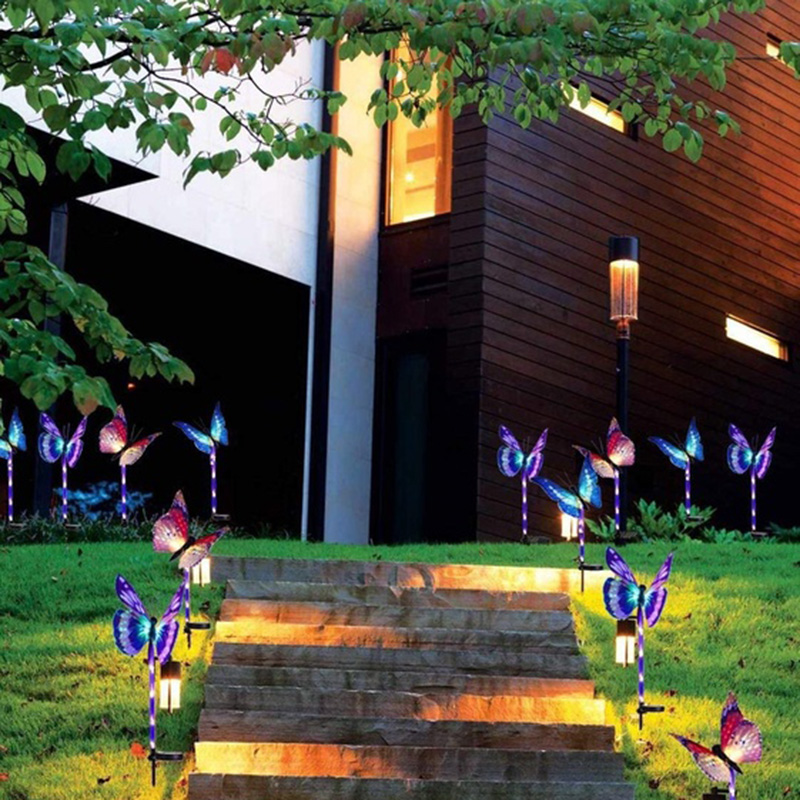 Garden Solar Lights Butterfly 7 Color-Changing Yard Lamp Patio Flashlight Durable Light Sensor Backyard Pathway Decoration