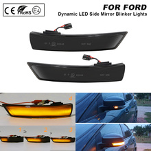 For FORD Focus II Focus III Mondeo IV Facelift Smoked LED Dynamic Side Mirror Blinker Light Turn Signal Lamp 2X