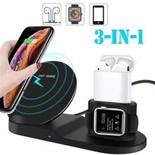 Caricabatterie Wireless 3 in 1 per iPhone 11 pro 7 8 plus Watch 2 3 4 5 Airpods 2 caricabatterie Wireless chargeur sans cle Qi caricabatterie Wireless