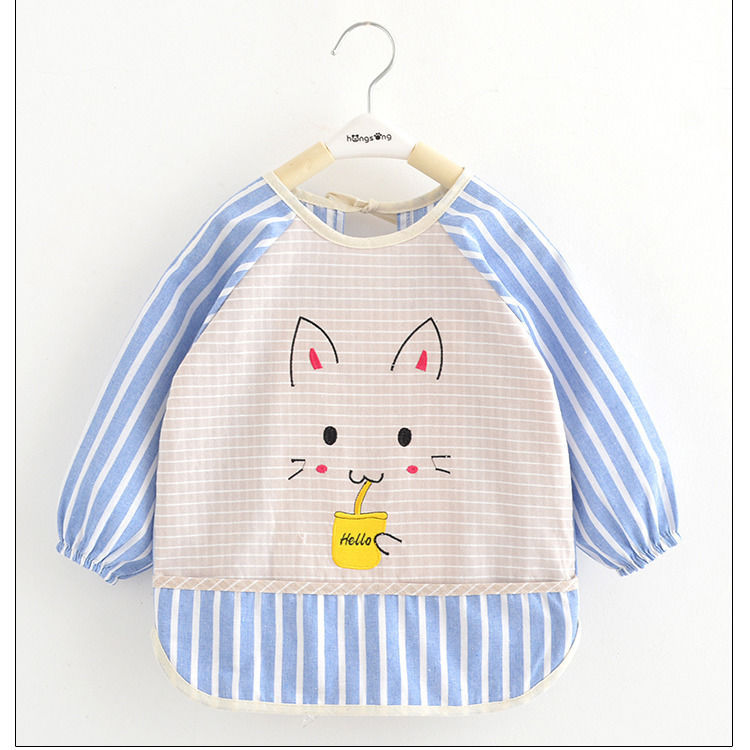 Baby Eating Overclothes Dress Bib Waterproof Cotton Linen Anti-Baby Bib Men And Women Cotton/Cotton Protective Clothing Autumn A
