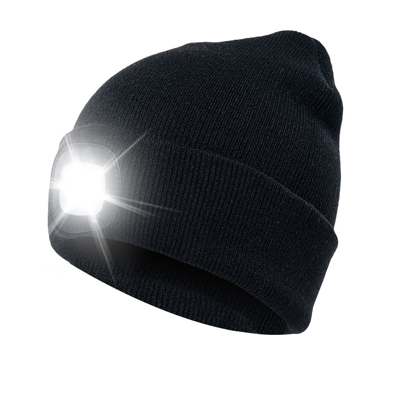Winter Casual Knit Hats 2020 Winter Unisex Warmer Knit Cap Hat Button Battery LED Beanie Cap
