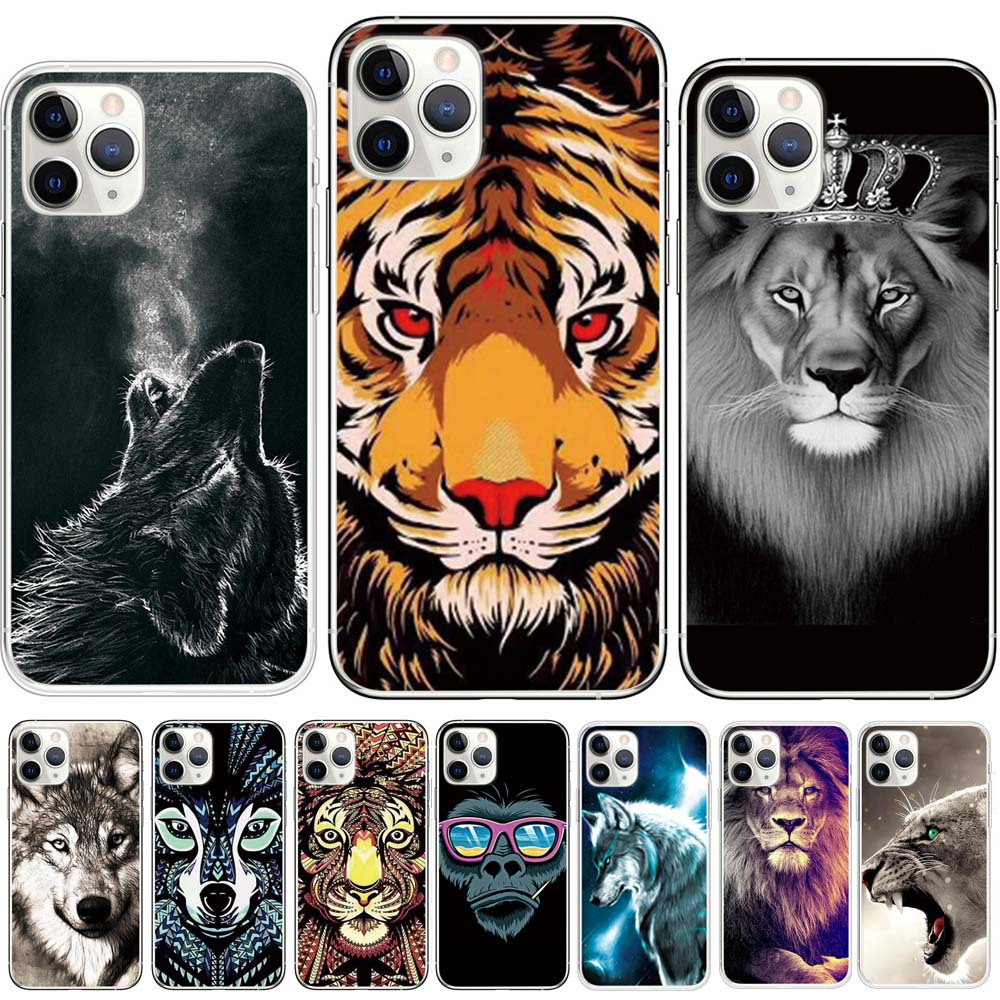 white kitten king lion crown wolf black strong tiger ainimal drawing phone case cover for iphone x xr 11 pro max 8 7 6 6s plus 5 image