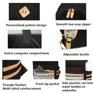 Image 5 - 3 adet Set tuval nokta sırt çantası çocuklar okul çantaları hafif genç kızlar Laptop sırt çantaları yalıtımlı öğle yemeği çantası + kalem kılıf