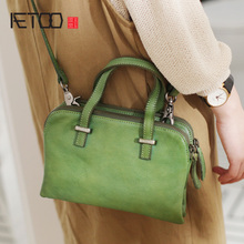 AETOO Handmade leather small square bag, multi-layer fashion retro head cowhide female soft skin summer oblique bag