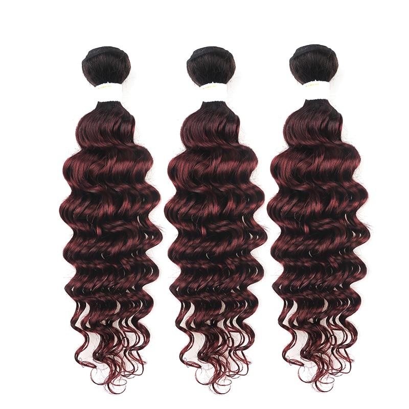 Brazilian Deep Wave Human Hair Bundles KEMY HAIR T1B/99J Burgundy Ombre Red Color Hair Weaving Non-remy 3/4 Bundles